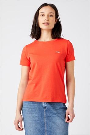"Wrangler γυναικείο T-shirt μονόχρωμο me logo print ""Sign Off"" Slim Fit"