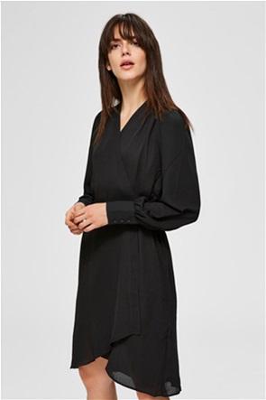 Selected γυναικείο mini φόρεμα κρουαζέ με ζώνη