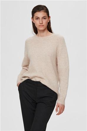 Selected γυναικείο πουλόβερ μονόχρωμο με στρογγυλή λαιμόκοψη