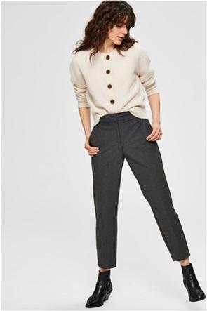 Selected γυναικείο παντελόνι μονόχρωμο cropped