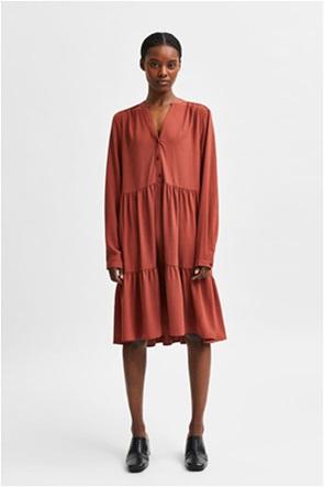 Selected γυναικείο midi φόρεμα μονόχρωμο με διακοσμητικές ραφές