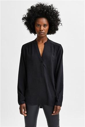 Selected γυναικεία μπλούζα μονόχρωμη με V λαιμόκοψη