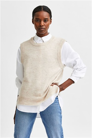 Selected γυναικεία πλεκτή μπλούζα αμάνικη