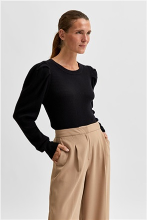 Selected γυναικεία πλεκτή μπλούζα ribbed με puff μανίκια