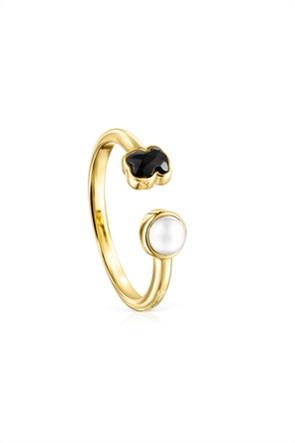 TOUS γυναικείο δαχτυλίδι Glory από Χρυσό Vermeil με Όνυχα και Μαργαριτάρι