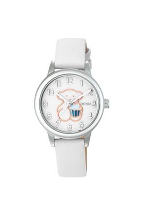 TOUS γυναικείο ρολόι New Muffin από Ατσάλι με λευκό Δερμάτινο λουράκι