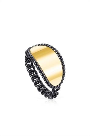 TOUS γυναικείο δίχρωμο δαχτυλίδι Minne από Ασήμι Dark Silver και Ασήμι Vermeil
