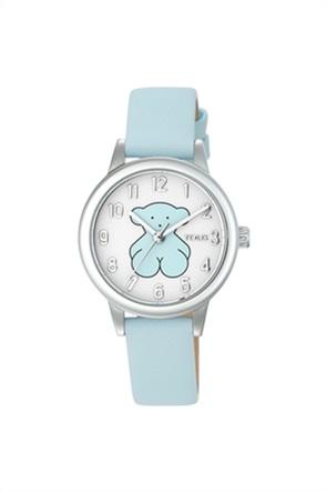 TOUS γυναικείο ρολόι New Muffin από Ατσάλι με μπλε Δερμάτινο λουράκι