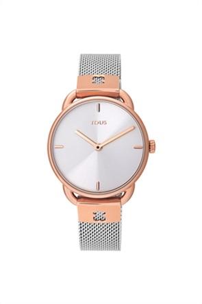 TOUS γυναικείο ρολόι Let Mesh από Ατσάλι δίχρωμο/με επιμετάλλωση σε ροζ χρώμα