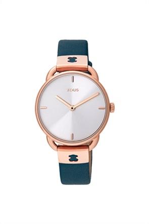 TOUS γυναικείο ρολόι Let Leather από Ατσάλι με επιμετάλλωση σε ροζ χρώμα με μπλε Δερμάτινο λουράκι