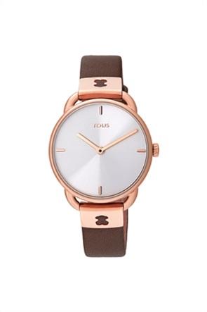 TOUS γυναικείο ρολόι Let Leather από Ατσάλι με επιμετάλλωση σε ροζ χρώμα με καφέ δερμάτινο λουράκι
