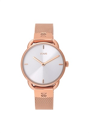 TOUS γυναικείο ρολόι Let Mesh από Ατσάλι με επιμετάλλωση σε ροζ χρώμα
