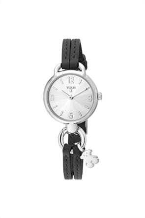 TOUS γυναικείο ρολόι Hold από Ατσάλι με μαύρο Δερμάτινο λουράκι