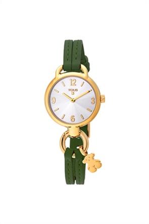 TOUS γυναικείο ρολόι Hold από επιχρυσωμένο Ατσάλι με πράσινο Δερμάτινο λουράκι