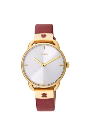 TOUS γυναικείο ρολόι Let Leather από επιχρυσωμένο Ατσάλι με κόκκινο Δερμάτινο λουράκι