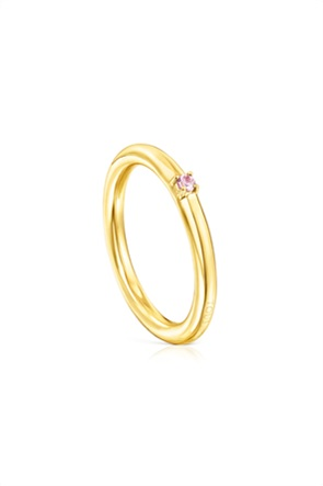 TOUS γυναικείο δαχτυλίδι Ring Mix από Ασήμι Vermeil και ροζ ζαφείρι