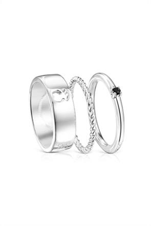 TOUS γυναικείο σετ δαχτυλίδια Ring Mix από Ασήμι και Σπινέλιο