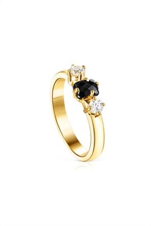 TOUS γυναικείο δαχτυλίδι Glaring από Ασήμι Vermeil με Όνυχα και Ζιργκόν
