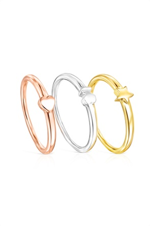 TOUS γυναικείο σετ δαχτυλίδια Ring Mix από Ασήμι, Ασήμι Vermeil και ροζ Ασήμι Vermeil με μοτίβα