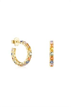 TOUS γυναικεία σκουλαρίκια-κρίκοι Glaring από Ασήμι Vermeil με πολύχρωμα ζαφείρια
