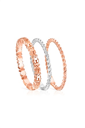 TOUS γυναικείο σετ δαχτυλίδια Ring Mix από ασήμι, ασήμι vermeil και ροζ ασήμι vermeil
