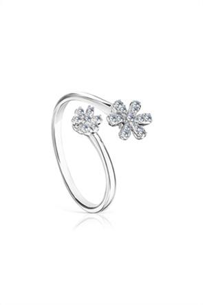 TOUS γυναικείo ανοιχτό δαχτυλίδι Blume από λευκόχρυσο και διαμάντια