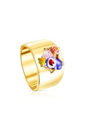 TOUS γυναικείo δαχτυλίδι San Valentín από ασήμι vermeil με γυαλί murano