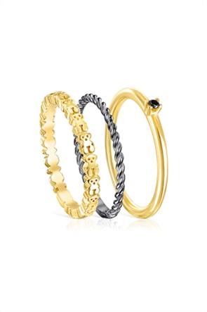 TOUS γυναικείο σετ δαχτυλίδια Ring Mix από ασήμι vermeil, ασήμι dark silver και σπινέλιο