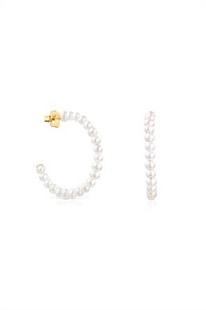 TOUS γυναικεία σκουλαρίκια κρίκοι Gloss με μαργαριτάρια