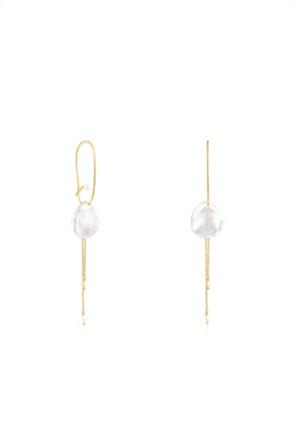 TOUS γυναικεία μακριά σκουλαρίκια πέταλο Nenufar από ασήμι vermeil με μαργαριτάρια