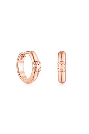 TOUS γυναικεία σκουλαρίκια-κρίκοι Τous Βasics με αρκουδάκι από ροζ ασήμι vermeil