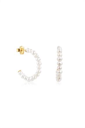 TOUS γυναικεία μικρά σκουλαρίκια κρίκοι Gloss με μαργαριτάρια