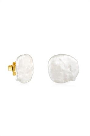 TOUS γυναικεία μικρά σκουλαρίκια πέταλο Nenufar από ασήμι vermeil με μαργαριτάρι