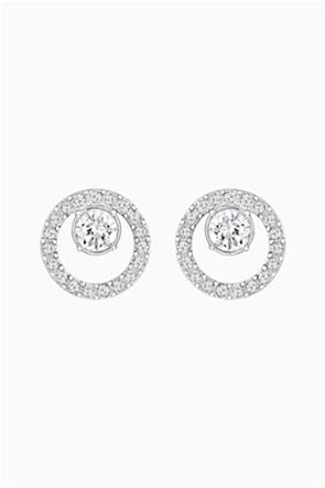 Swarovski Creativity Circle Pierced Earrings, White, Rhodium plated